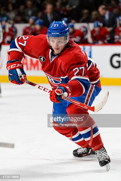 Alex Galchenyuk of the Montreal Canadiens skates in Game One of the Eastern Conference Semifinals against the Tampa Bay Lightning during the 2015 NHL...