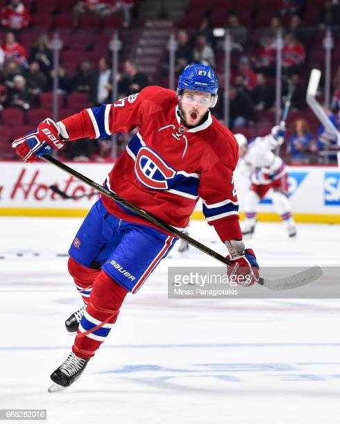 Alex Galchenyuk of the Montreal Canadiens skates in the warmup prior to Game One of the Eastern Conference First Round during the 2017 NHL Stanley...