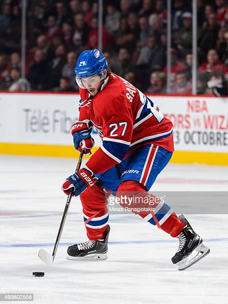Alex Galchenyuk of the Montreal Canadiens skates with the puck during the NHL game against the St Louis Blues at the Bell Centre on October 20 2015...