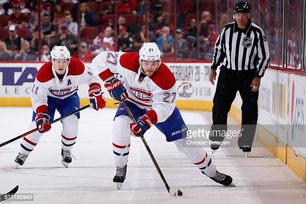Alex Galchenyuk of the Montreal Canadiens skates with the puck during the NHL game against the Arizona Coyotes at Gila River Arena on February 15...