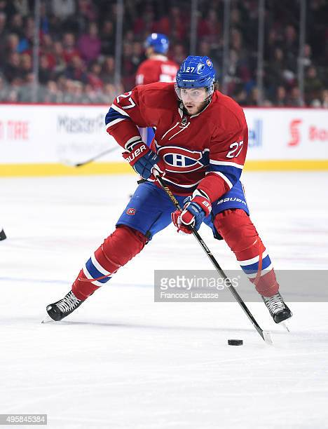 Alex Galchenyuk of the Montreal Canadiens skates with the puck against the Winnipeg Jets in the NHL game at the Bell Centre on November 1 2015 in...