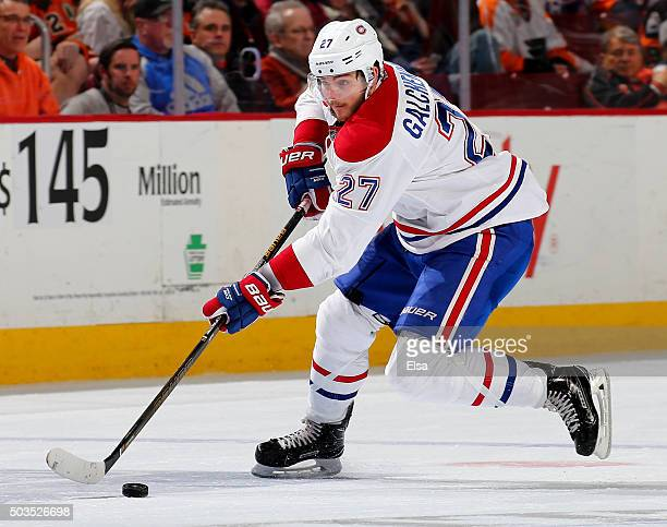 Alex Galchenyuk of the Montreal Canadiens takes the puck in the third period against the Philadelphia Flyers at the Wells Fargo Center on January 5...