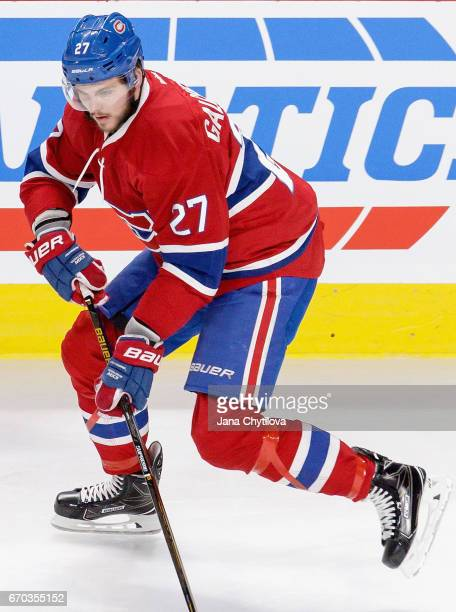 Alex Galchenyuk of the Montreal Canadiens warms up before the game against the Detroit Red Wings at Bell Centre on March 29 2016 in Montreal Quebec...