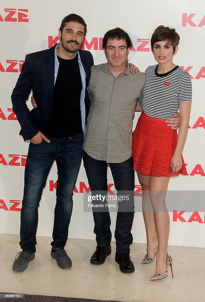 Alex Garcia, Alex Pina and Veronica Echegui attend 'Kamikaze' photocall at Hesperia hotel on March 27, 2014 in Madrid, Spain.