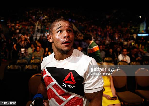 Alex Garcia exits the Octagon after defeating Mike Swick in their welterweight fight during the UFC 189 event inside MGM Grand Garden Arena on July...