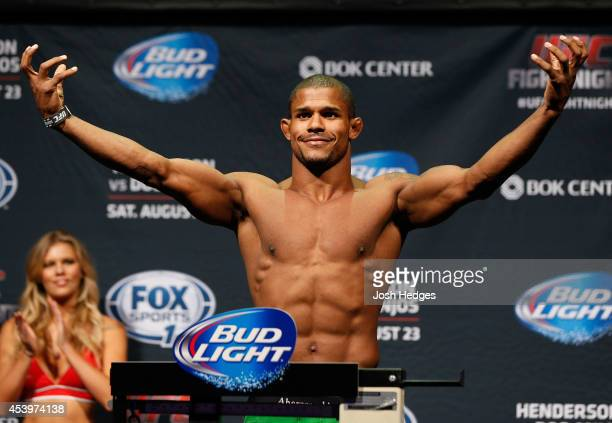 Alex Garcia of the Dominican Republic weighs in during the UFC Fight Night weighin at the BOK Center on August 22 2014 in Tulsa Oklahoma