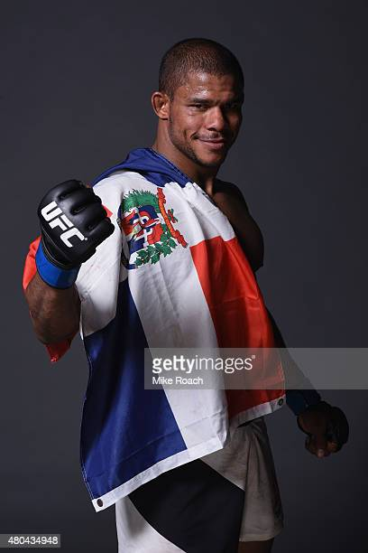 Alex Garcia poses for a portrat backstage during the UFC 189 event inside MGM Grand Garden Arena on July 11 2015 in Las Vegas Nevada