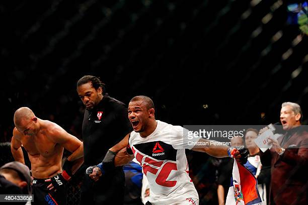 Alex Garcia reacts to his victory over Mike Swick in their welterweight fight during the UFC 189 event inside MGM Grand Garden Arena on July 11 2015...