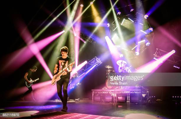 Alex Gaskarth of All Time Low performs at Eventim Apollo on March 10 2017 in London England