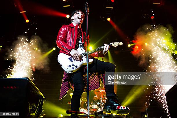 Alex Gaskarth of All Time Low performs performs onstage at The O2 Arena on February 14 2015 in London England
