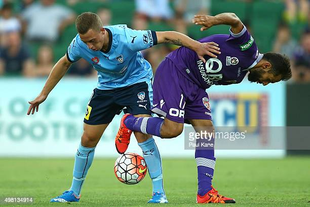 Alex Gersbach of Sydney and Diego Castro of the Glory contest for the ball during the round seven ALeague match between Perth Glory and Sydney FC at...