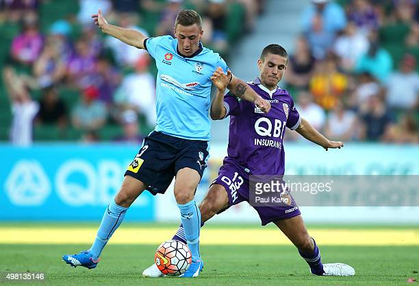 Alex Gersbach of Sydney and Diogo Ferreira of the Glory contest for the ball during the round seven ALeague match between Perth Glory and Sydney FC...