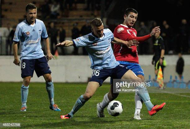 Alex Gersbach of Sydney FC challenges for the ball during the preseason match between Sydney FC and Bonnyrigg at Leichhardt Oval on August 6 2014 in...