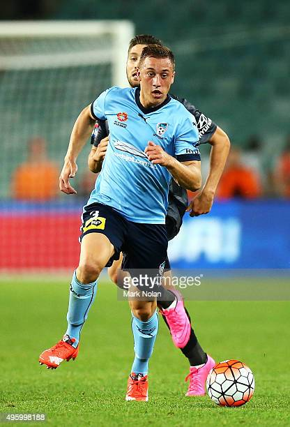 Alex Gersbach of Sydney in action during the round five ALeague match between Sydney FC and Brisbane Roar at Allianz Stadium on November 6 2015 in...