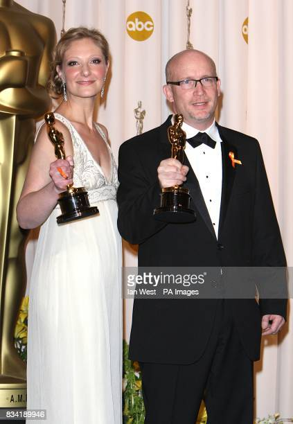 Alex Gibney and Eva Orner with the award for Best Documentary Feature received for Taxi To The Dark Side at the 80th Academy Awards at the Kodak...