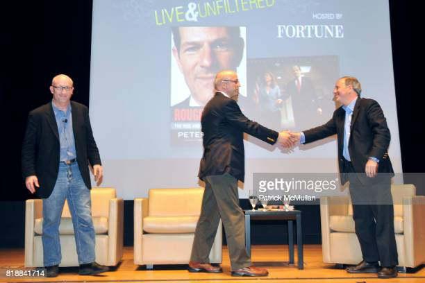 Alex Gibney Peter Elkind and Andy Serwer attend TIME INC Live and Unfiltered Presents ROUGH JUSTICE Hosted by FORTUNE at Time and Life Building...