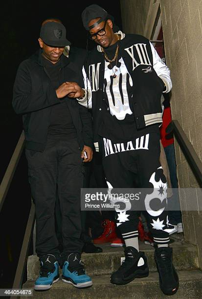 Alex Gidewon and 2 Chainz attend Dwyane Wade's Birthday Celebration at Velvet Room on January 19 2014 in Chamblee Georgia