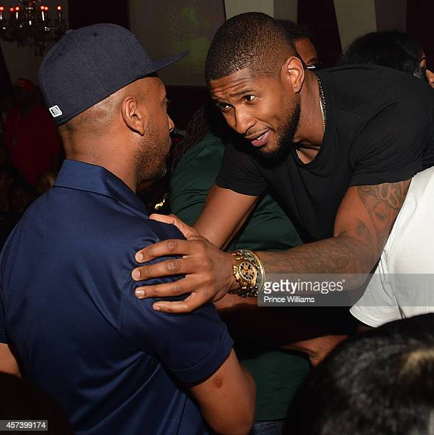 Alex Gidewon and Usher attend Hip Hop Awards Grande Finale Hosted by Jeezy Future at Velvet Room on September 21 2014 in Chamblee Georgia