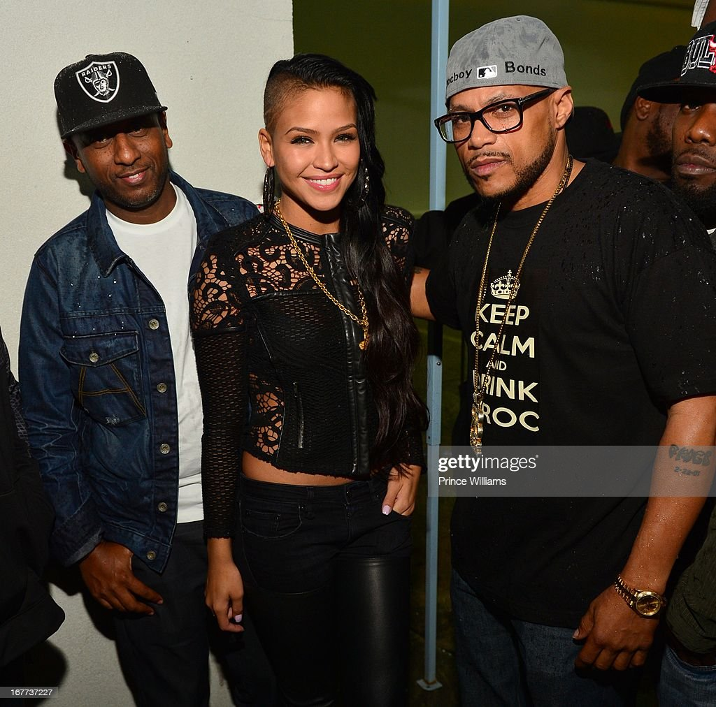 Alex Gidewon, Cassie and Roger Bonds attend a party at Compound on April 28, 2013 in Atlanta, Georgia.