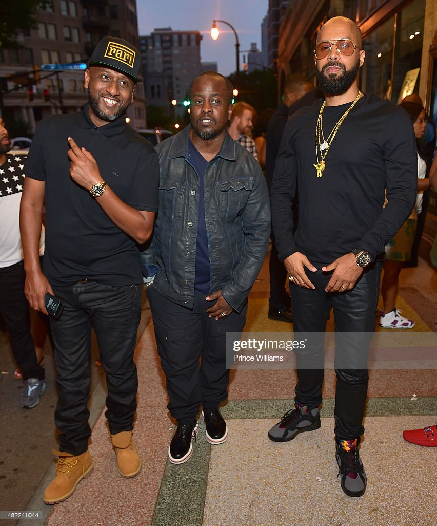 Alex Gidewon Efe and Kenny Burns attend Jeezy Presents TM101 10 Year anniversary concert at The Fox Theatre on July 25 2015 in Atlanta Georgia