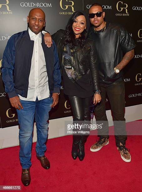 Alex Gidewon Monica Brown and Shannon Brown attend the K Michelle and Monica Concert afterparty at Gold Room on March 12 2015 in Atlanta Georgia