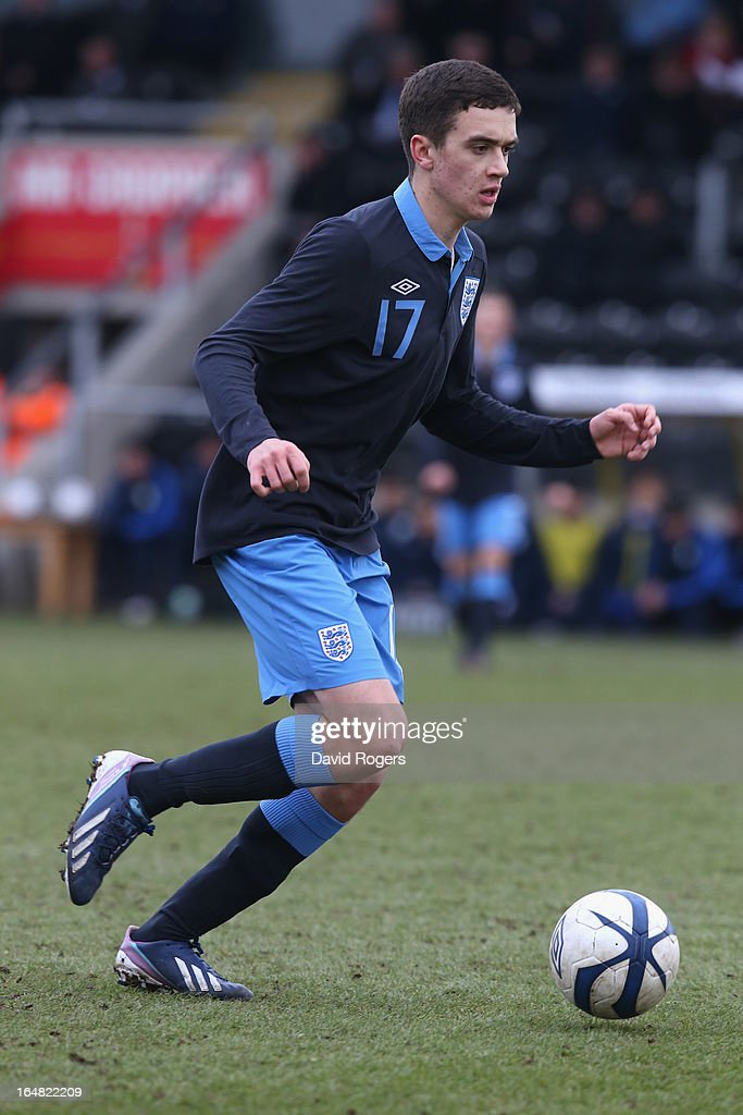 Alex Gilliead of England runs with the ball during the UEFA European Under 17 Championship match between England and Slovenia at Pirelli Stadium on March 28, 2013 in Burton-upon-Trent, England.