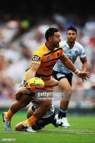 Alex Glenn of the Brisbane Broncos charges forward during the 2016 Auckland Nines match between the New Zealand Warriors and the Brisbane Broncos at...