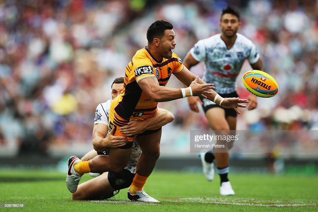 Alex Glenn of the Brisbane Broncos charges forward during the 2016 Auckland Nines match between the New Zealand Warriors and the Brisbane Broncos at Eden Park on February 7, 2016 in Auckland, New Zealand.