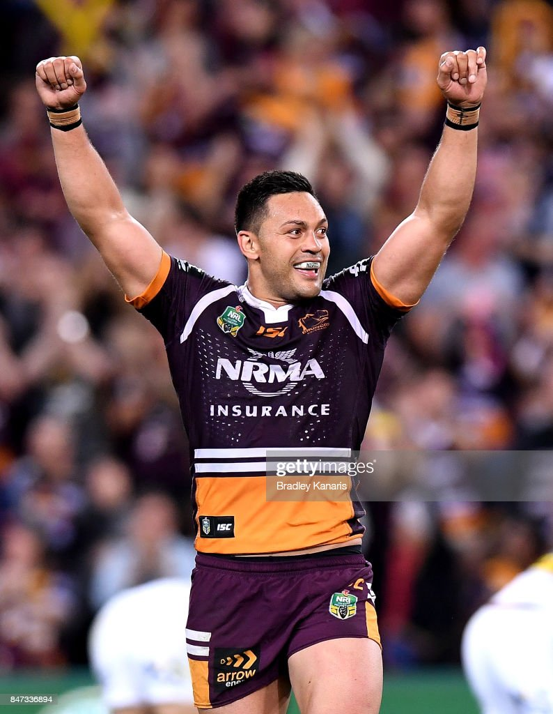 Alex Glenn of the Broncos celebrates victory after his team wins the NRL Semi Final match between the Brisbane Broncos and the Penrith Panthers at Suncorp Stadium on September 15, 2017 in Brisbane, Australia.
