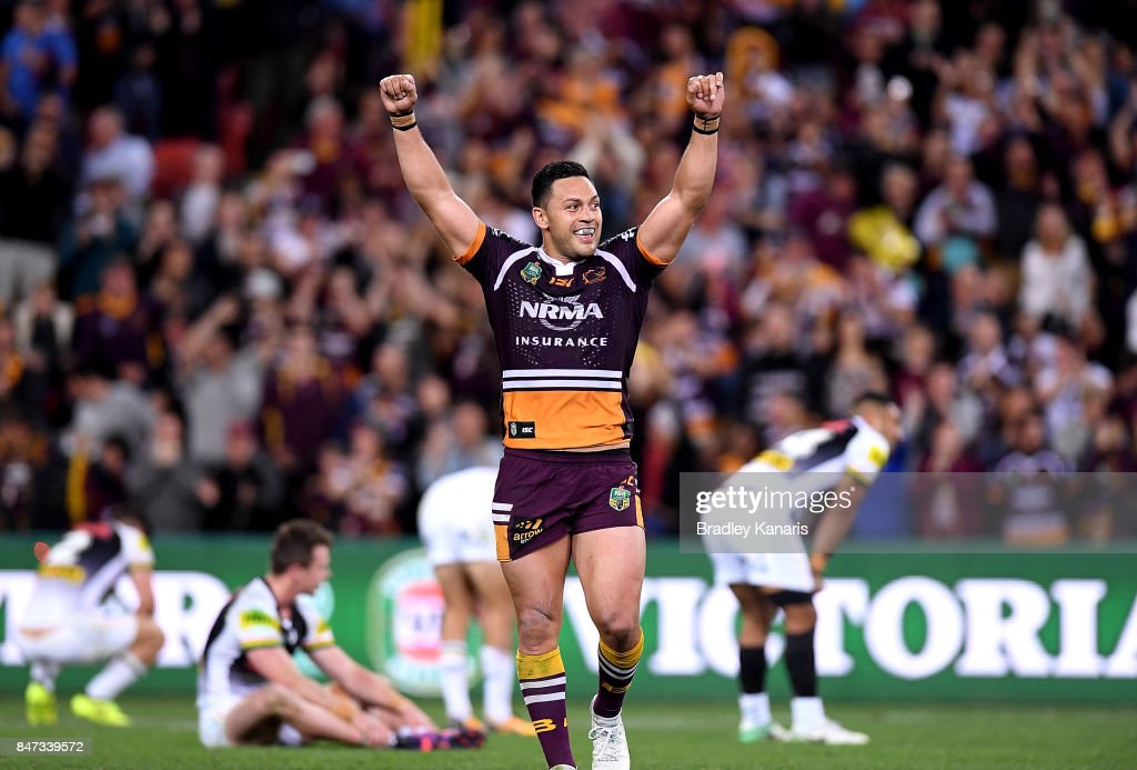 Alex Glenn of the Broncos celebrates victory after the NRL Semi Final match between the Brisbane Broncos and the Penrith Panthers at Suncorp Stadium on September 15, 2017 in Brisbane, Australia.
