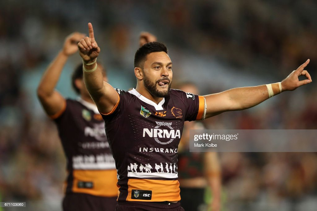 Alex Glenn of the Broncos celebrates victory during the round eight NRL match between the South Sydney Rabbitohs and the Brisbane Broncos at ANZ Stadium on April 21, 2017 in Sydney, Australia.