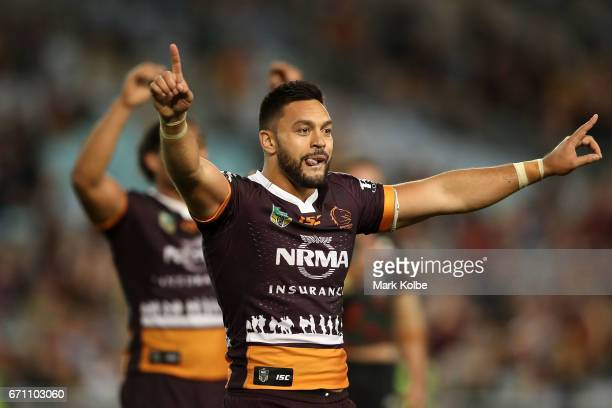 Alex Glenn of the Broncos celebrates victory during the round eight NRL match between the South Sydney Rabbitohs and the Brisbane Broncos at ANZ...