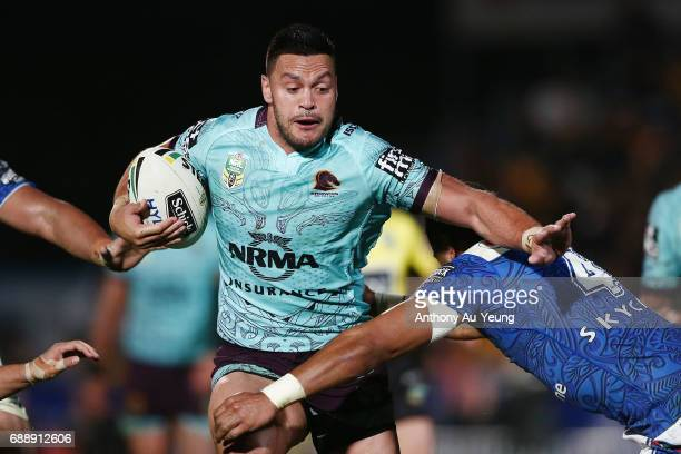 Alex Glenn of the Broncos makes a run during the round 12 NRL match between the New Zealand Warriors and the Brisbane Broncos at Mt Smart Stadium on...