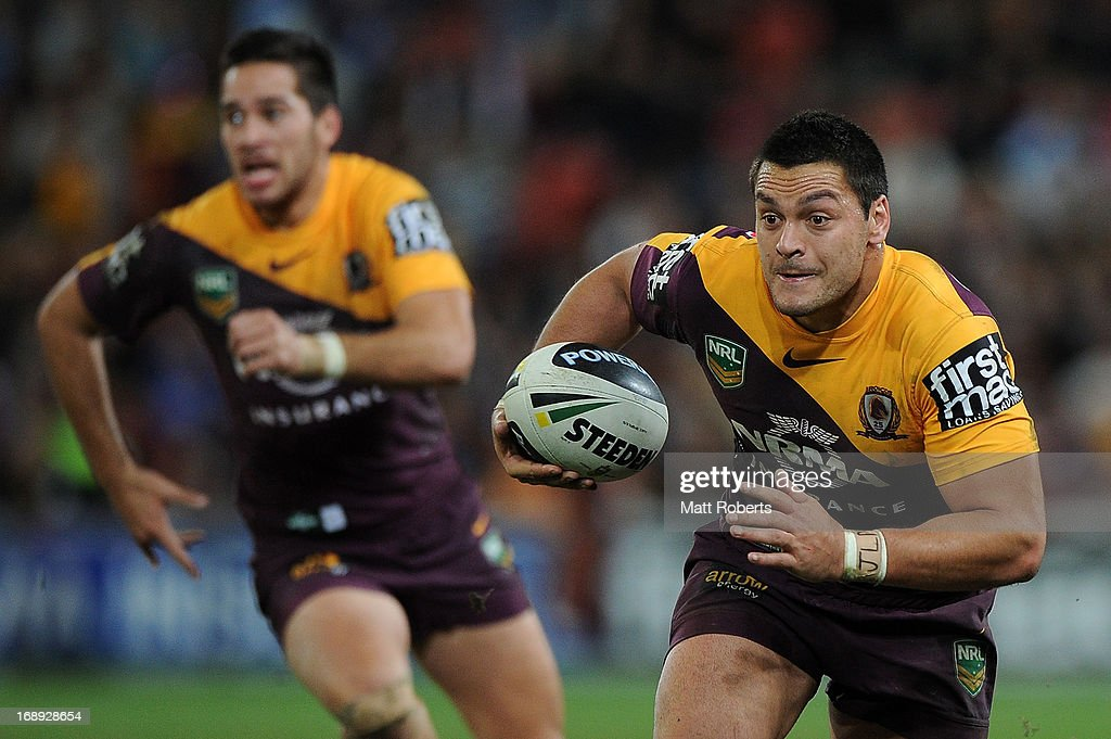 Alex Glenn of the Broncos runs with the ball during the round 10 NRL match between the Brisbane Broncos and the Gold Coast Titans at Suncorp Stadium on May 17, 2013 in Brisbane, Australia.