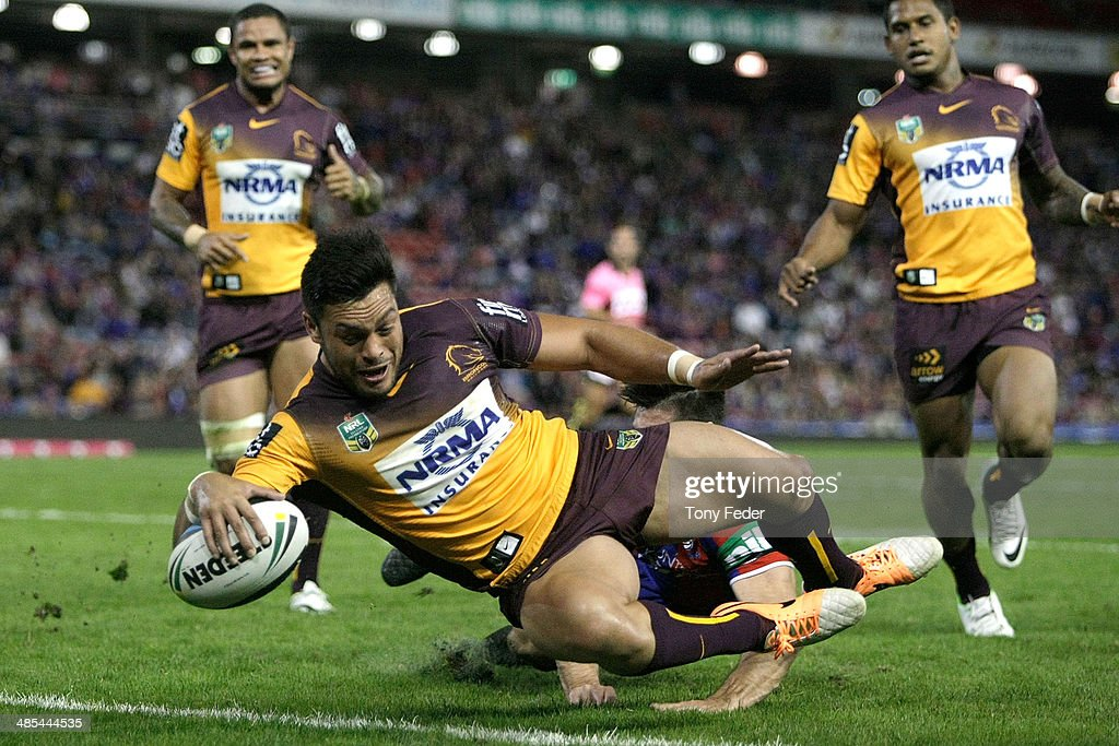 Alex Glenn of the Broncos scores a try during the round seven NRL match between the Newcastle Knights and the Brisbane Broncos at Hunter Stadium on April 18, 2014 in Newcastle, Australia.
