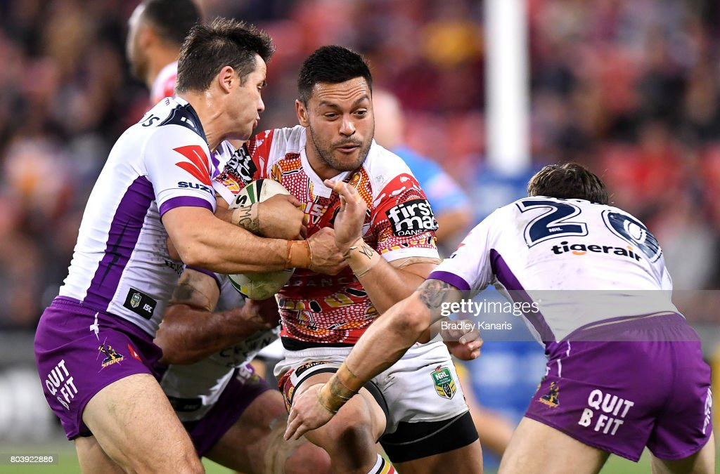 Alex Glenn of the Broncos takes on the defence during the round 17 NRL match between the Brisbane Broncos and the Melbourne Storm at Suncorp Stadium on June 30, 2017 in Brisbane, Australia.