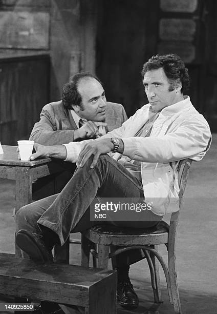TAXI 'Alex Goes Off the Wagon' Episode 3 Aired Pictured Danny DeVito as Louie De Palma Judd Hirsch as Alex Reiger Photo by Ron Tom/NBCU Photo Bank
