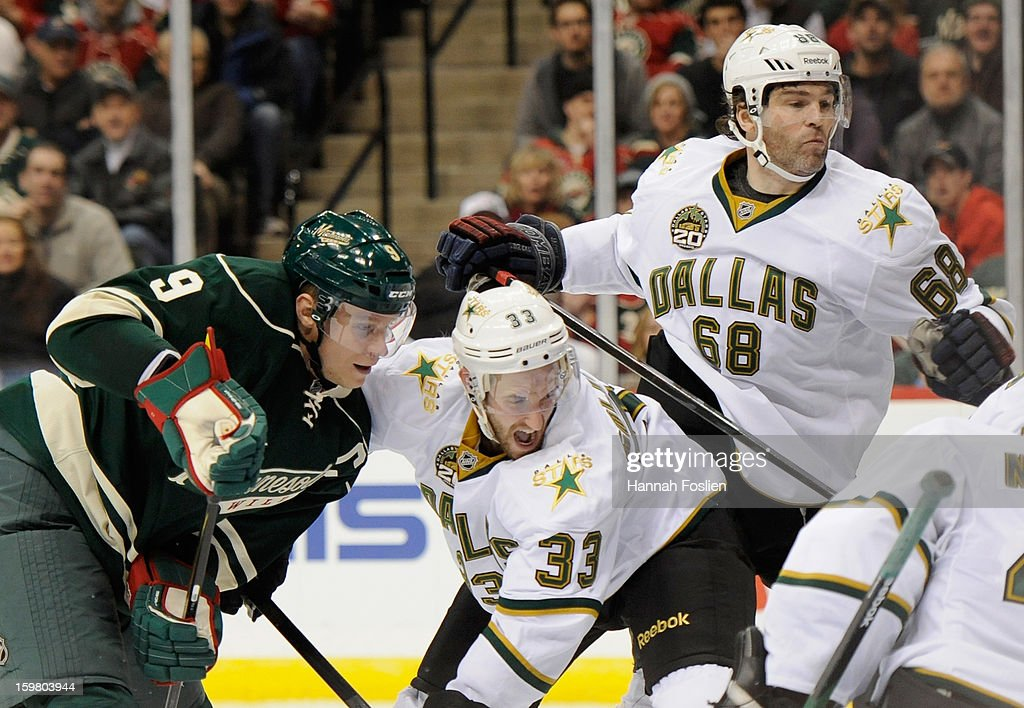 <a gi-track='captionPersonalityLinkClicked' href=/galleries/search?phrase=Alex+Goligoski&family=editorial&specificpeople=791866 ng-click='$event.stopPropagation()'>Alex Goligoski</a> #33 and Jaromir Jagr #68 of the Dallas Stars react to a shot on goal by <a gi-track='captionPersonalityLinkClicked' href=/galleries/search?phrase=Mikko+Koivu&family=editorial&specificpeople=584987 ng-click='$event.stopPropagation()'>Mikko Koivu</a> #9 of the Minnesota Wild during the third period of the game on January 20, 2013 at Xcel Energy Center in St Paul, Minnesota. The Wild defeated the Stars 1-0.