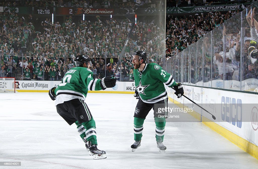 Alex Goligoski and Shawn Horcoff of the Dallas Stars celebrate a goal against the Anaheim Ducks in Game Four of the First Round of the 2014 Stanley...