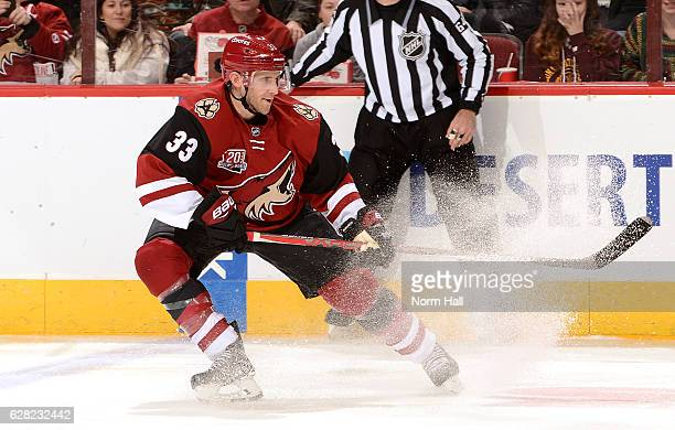 Alex Goligoski of the Arizona Coyotes changes direction against the Columbus Blue Jackets at Gila River Arena on December 3 2016 in Glendale Arizona