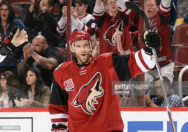 Alex Goligoski of the Arizona Coyotes reacts after his first period goal against the Nashville Predators at Gila River Arena on December 10 2016 in...