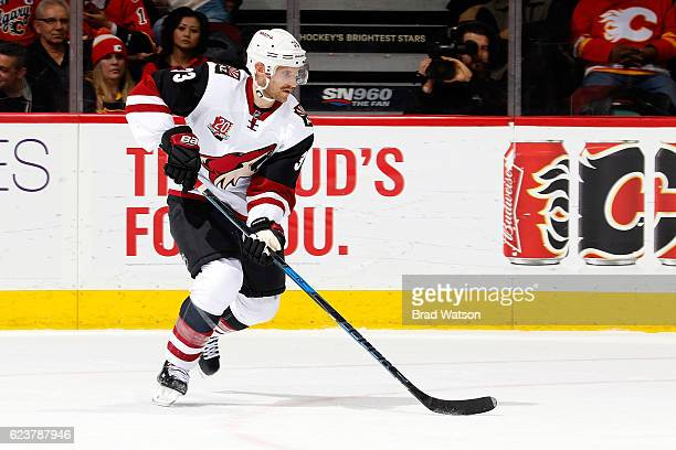Alex Goligoski of the Arizona Coyotes skates against the Calgary Flames during an NHL game on November 16 2016 at the Scotiabank Saddledome in...