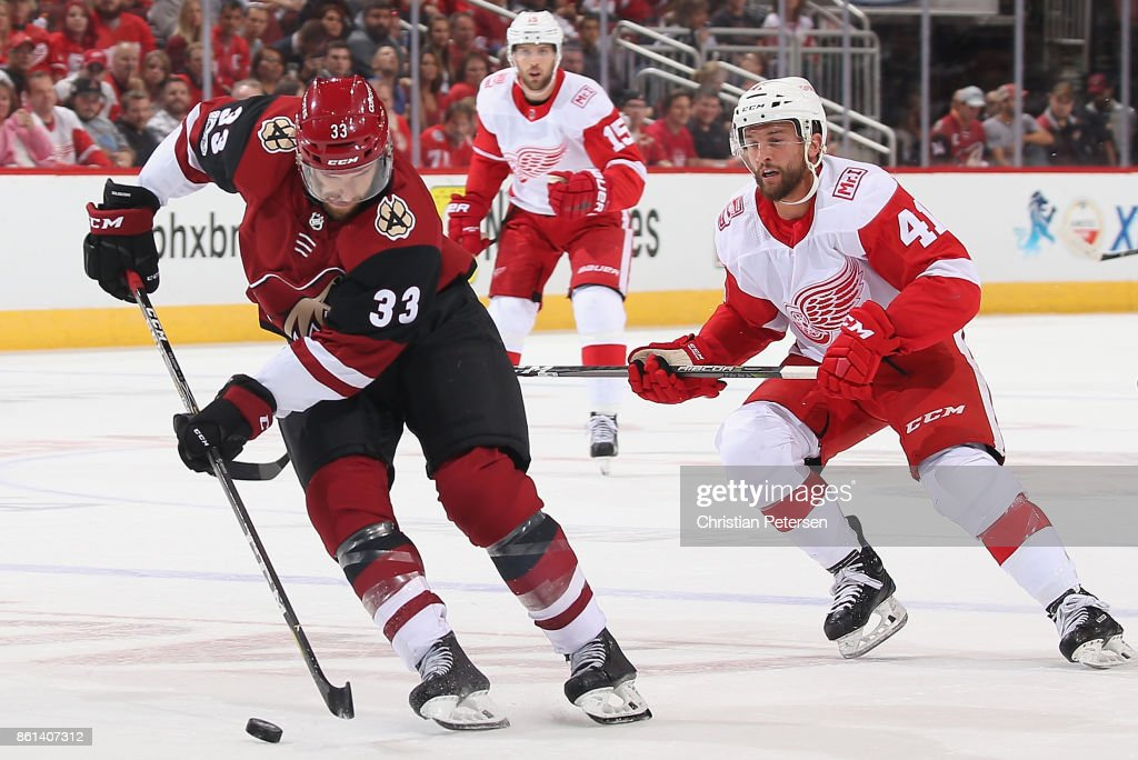 Alex Goligoski #33 of the Arizona Coyotes skates with the puck during the second period of the NHL game against the Detroit Red Wings at Gila River Arena on October 12, 2017 in Glendale, Arizona.