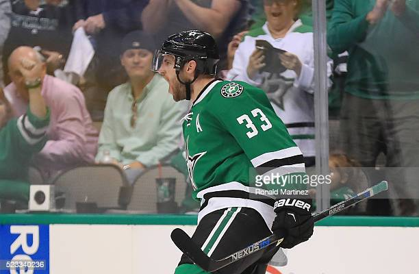 Alex Goligoski of the Dallas Stars celebrates his goal against the Minnesota Wild in the third period in Game Five of the Western Conference First...