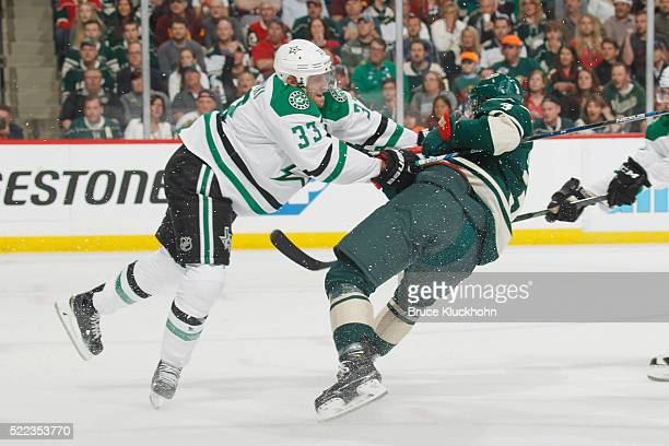 Alex Goligoski of the Dallas Stars checks Charlie Coyle of the Minnesota Wild in Game Three of the Western Conference Quarterfinals during the 2016...