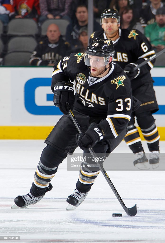 <a gi-track='captionPersonalityLinkClicked' href=/galleries/search?phrase=Alex+Goligoski&family=editorial&specificpeople=791866 ng-click='$event.stopPropagation()'>Alex Goligoski</a> #33 of the Dallas Stars handles the puck against the Anaheim Ducks at the American Airlines Center on March 14, 2013 in Dallas, Texas.
