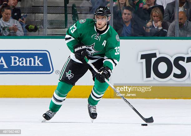 Alex Goligoski of the Dallas Stars handles the puck against the Toronto Maple Leafs at the American Airlines Center on November 10 2015 in Dallas...