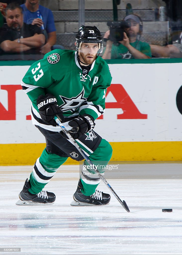 Alex Goligoski of the Dallas Stars handles the puck against the St Louis Blues in Game Seven of the Western Conference Second Round during the 2016...
