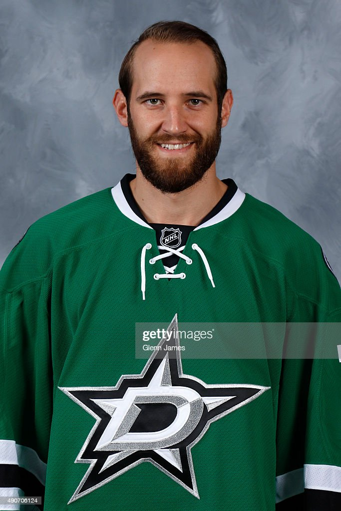 Alex Goligoski of the Dallas Stars poses for his official headshot for the 20152016 season on September 17 2015 at the Dr Pepper Stars Center in...