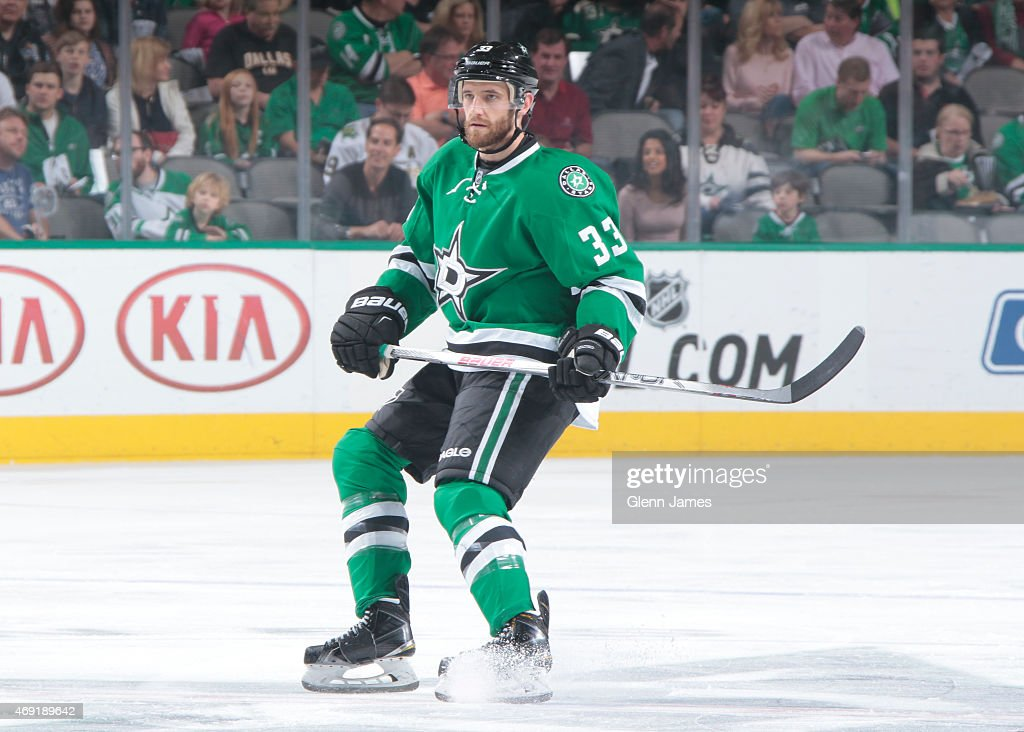 Alex Goligoski of the Dallas Stars skates against the Calgary Flames at the American Airlines Center on March 30 2015 in Dallas Texas